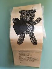 Vintage Blue Floral Teddy Bear Kit Pre Cut Fabric, Stuffing And Instructions