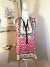 Brixon Ivy Womens V Neck Top Sleeveless Size M Pink Blue Peach Paisley