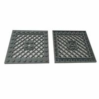 2 NEW LEGO Plate, Modified 8 x 8 with Grille and Hole in Center Dark Bluish Gray