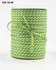 MAY ARTS RIBBONS~SOLID DIAGONAL STRIPE~GREEN & WHITE~1/8TH INCH WIDE X 3 YARDS!