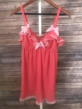 Victoria's Secret Babydoll Nightgown Lingerie Pink Bows Lace Small