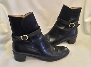Salvatore Ferragamo Women's US Size 8.5 AA Black Leather Shoes Boots Ankle Boots