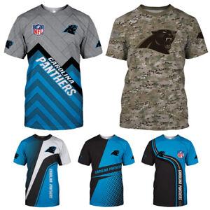 Carolina Panthers Men Outdoor T-shirts Summer Casual Short Sleeve Tee Tops S-5XL