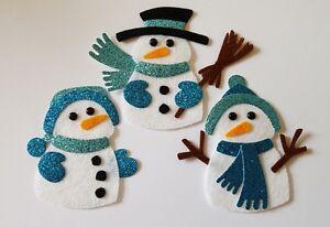 x3 Felt Snowman Embellishments.Die cuts. Christmas embellishments