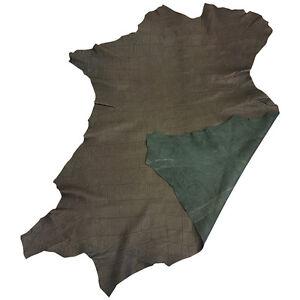 SALE Green Suede Leather Hide Lambskin Crocodile Embossed DIY Craft Material 954