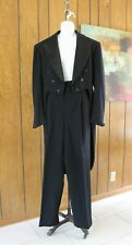VTG 1940s 50s Mens Wool Tuxedo Formal Suit Topcoat w/ Tails & Pants Lg Sz