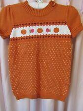 GYMBOREE Girls Size 7/8 Short Sleeve Knit Autumn~Pumpkin & Floral Shirt