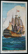HMS QUEEN CHARLOTTE   Royal Navy  1st Rate Warship  Vintage Colour Card