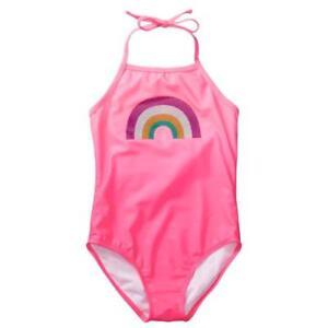 NWT Gymboree Girl Rainbow Swimsuit 1pc Set UPF 50+ Neon Pink 4,5/6,7/8,10/12,14