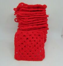 """Set (28) RED Crocheted GRANNY SQUARES, 4.5"""" Square"""