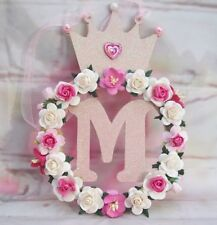 PERSONALISED  MDF CROWN Initial  Letter Plaque Bedroom, Door, Sign Flower