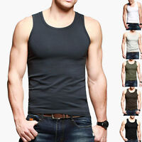 Mens Basic Tank Top Athletic GYM Sports Vest TShirt Stretch Fitted 7 Plain Color