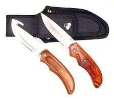 Ruko Pakkawood Handle Gut Hook Skinning Knife Set with Folding Knife and Nylon S