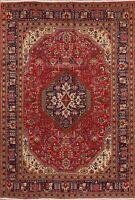 Vintage RED/NAVY Geometric Tebriz Area Rug Hand-Knotted Oriental Carpet 7'x10'