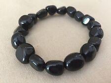 Black Obsidian Braclet Tumbled Stone Stretchy Bracelet Chakra Energy Jewelery.