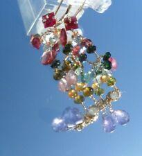 Tourmaline Tanzanite Briolette Lever Back Earrings New listing 14k Yg Ruby Diamond Sapphire