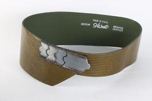 Vintage WEST Olive Green Croco Leather Wide Asymmetric Belt Size M