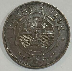 1898 South Africa ZAR Penny Coin
