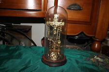 Antique Jesus Christ Religious Prayer Station Shrine W/Glass Dome-Christianity