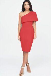BNWT Lavish Alice One Shoulder Cape Dress Red UK 14