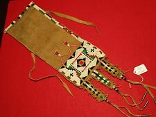 "NATIVE AMERICAN BEADED LEATHER PIPE BAG, INDIAN SACRED ""CHANUPA""  BAG, DU-00066"