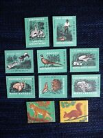 1962 Set of 10 Poland Matchbox labels Animal World Birds