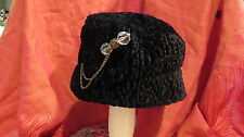 Stylish Black faux curly wool pillbox hat, ladies OSFM with pretty pin