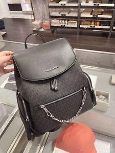 Michael Kors Jet Set Large Signature PVC Chain Backpack Black Logo