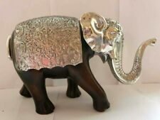 Elephant Wood Statue Ornament Animal Hand Art Wooden Figurine Silver Sculpture