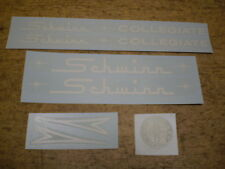 Complete Schwinn Approved Early Collegiate White Bicycle Decal Set