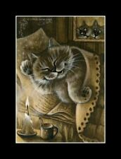 Sepia Cat ACEO Print A Very Boring Book by I Garmashova