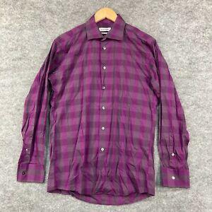 Calvin Klein Mens Button Up Shirt Size 40 S/M Slim Fit Long Sleeve Purple 199.05
