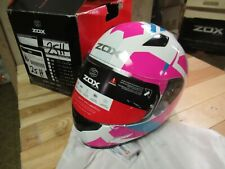 ZOX MOTORCYCLE  ATV SNOWMOBILE SCOOTER HELMET - FULLFACE GALAXY LARGE PINK+WHITE