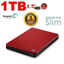 "New SEAGATE Backup Plus SLIM 1TB 2.5"" USB3.0 External Hard Disk Drive 1 TB RED"