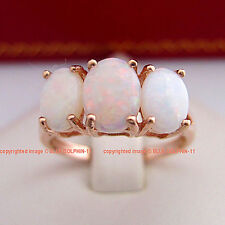 Real Genuine Natural Opal Solid 9ct Rose Gold Engagement Wedding Trilogy Ring