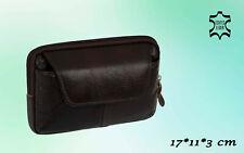 Herren Echt Leder Tasche Gürteltasche Braun - 17 x 11 x 3 cm