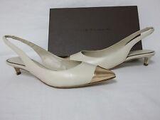 Elie Tahari Size EU 38.5 US 8.5 Sasha Bone Leather Slingbacks New Womens Shoes