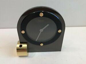 Seiko Quartz Desk Clock, Black & Gold Accents, QSG210K Without Ballpoint Pen