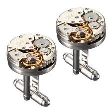 2x Uhrwerk Manschettenknöpfe Uhr Manschettenknopf Cufflinks Steampunk Metall !