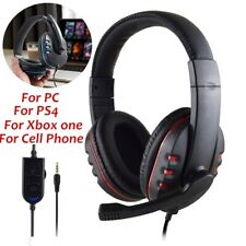 Gaming Wired Headphones With Microphone Headset MIC Over Ear For PS4 PC Xbox One