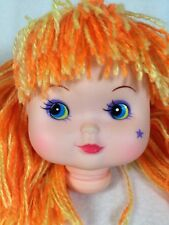 "Vintage Rainbow Brite Orange Hair Star Cheek 3.5"" Plastic Doll Head Parts Crafts"