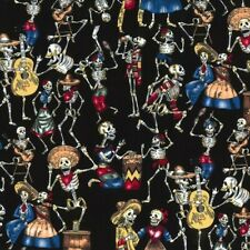 100% Cotton Poplin Fabric Rose & Hubble Day of the Dead Party Halloween Skull