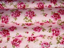 PRETTY ROSE & HUBBLE PINK FLORAL ROSES PRINT FABRIC 100% COTTON FAT QUARTERS