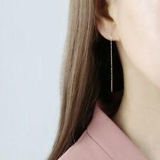 14k Solid Gold Double Bar Threader Earrings,Dangling Earrings,Gold Drop Earrings
