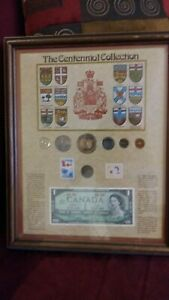 Canada framed Centennial silver Coin banknote stamp collection