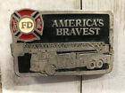 "Fire Engine Truck ""Americas Bravest"" Fire Department Insignia Emblem"