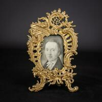 Picture Frame Gilded Bronze Antique Baroque Vintage Mirror with Rocaille Angel