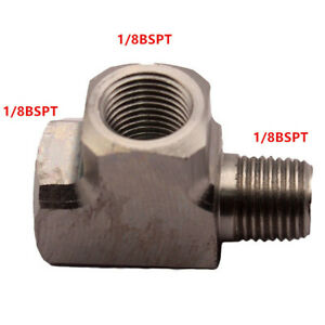 "Steel Adapter T Tee Fitting 1/8"" BSPT For Air Oil Water Pressure Sensor Gauge"