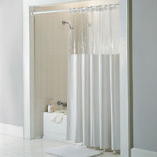 "See Through Top Clear/White 10 Gauge Vinyl Bath Shower Curtain 72"" x 72"""