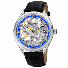 New Men's Akribos XXIV AK802BU Vibrant Mechanical Skeletal Black Leather Watch